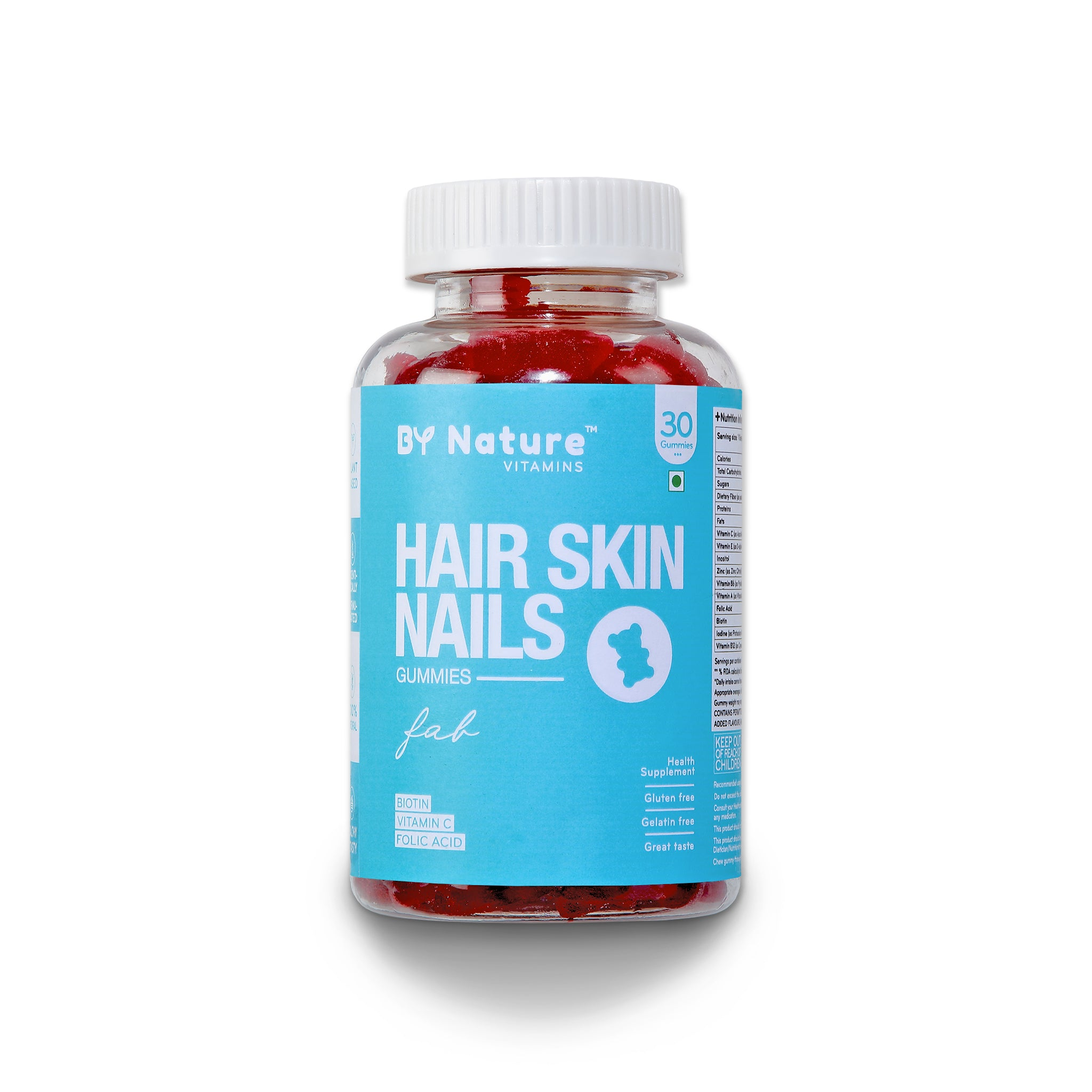 By Nature Hair Skin Nail Vitamin Gummies with Biotin & Folic Acid, 30 gummies (1 month pack)