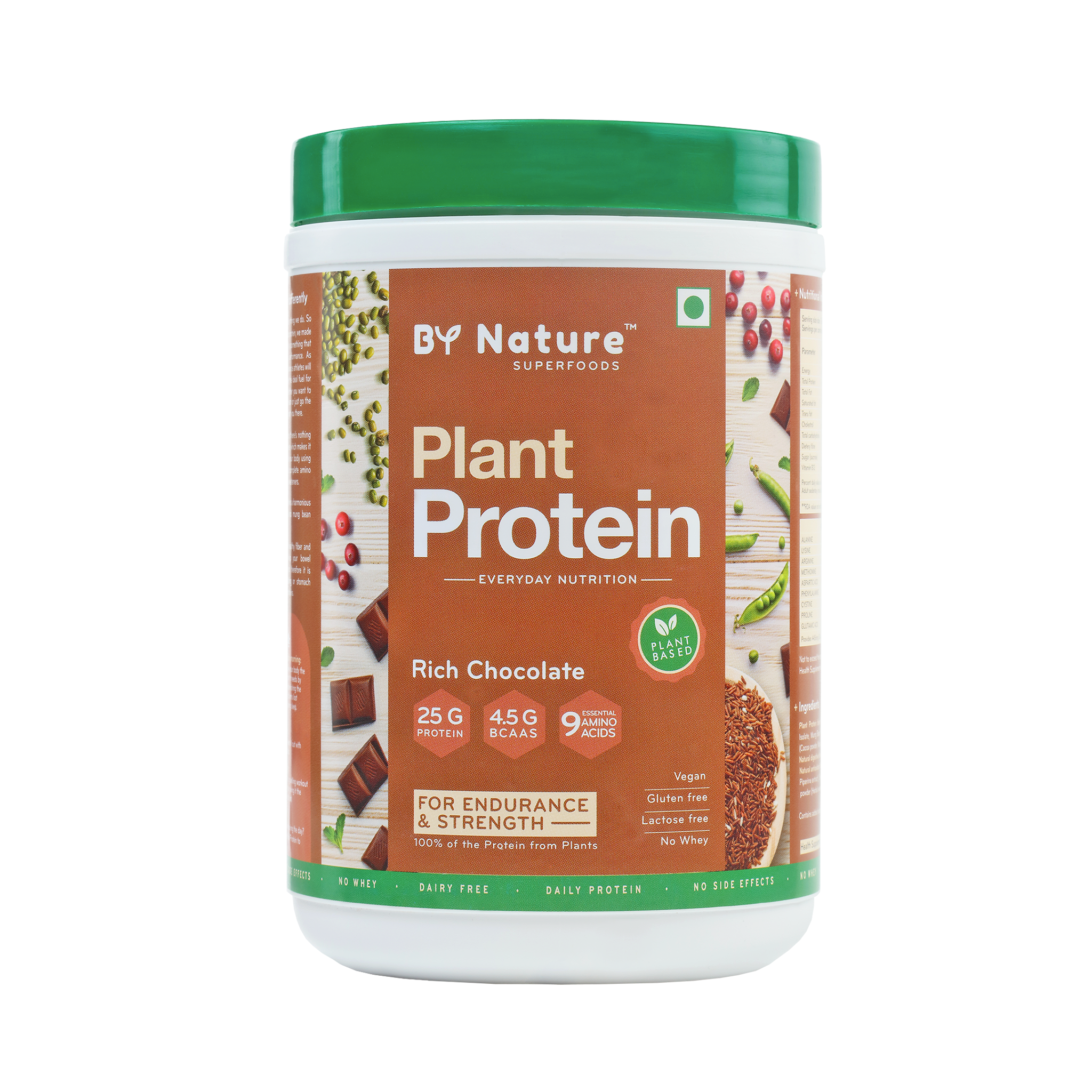 By Nature Plant Protein (Rich Chocolate), Vegan, All Natural, No Added Sugar 500g