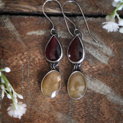 Garnet and sapphire earrings