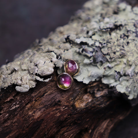 Watermelon Tourmaline Post Earring