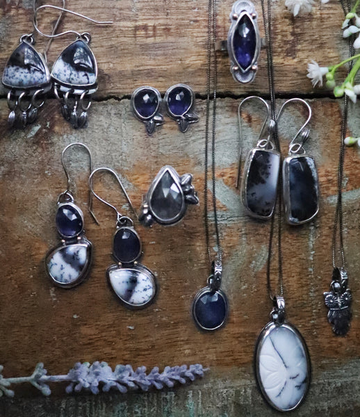 Dendritic Opal Earrings - Winter's Night Collection