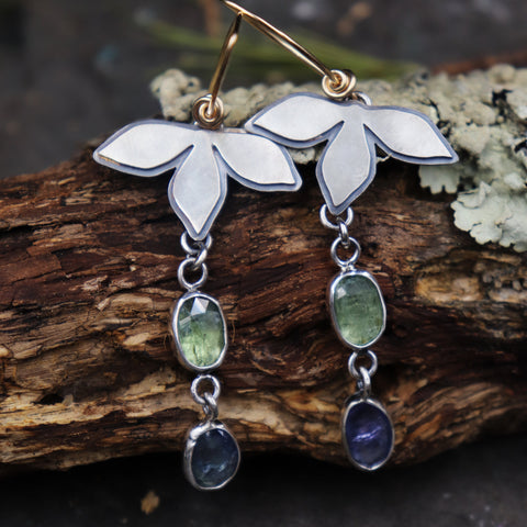 Petal Earrings with Gemstones
