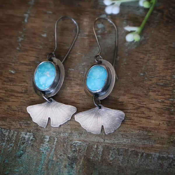 Turquoise Ginkgo Leaf Earrings