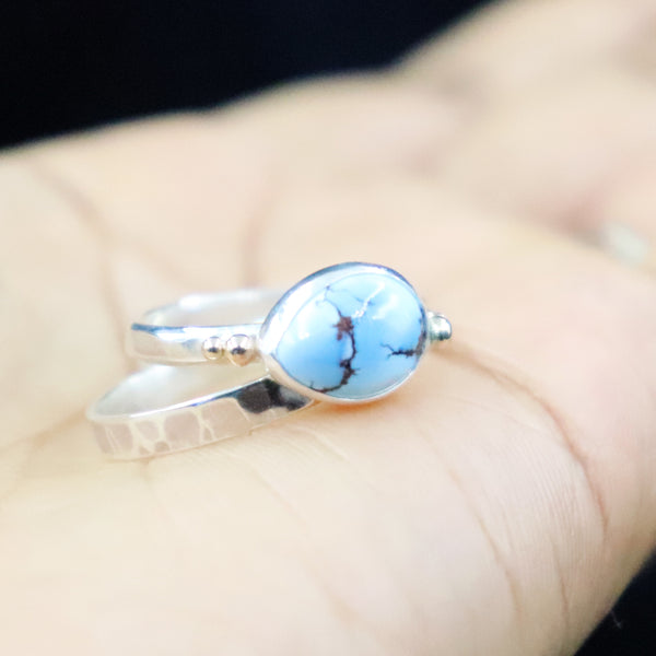 Lavender Turquoise Stacking Rings- Size 7.25