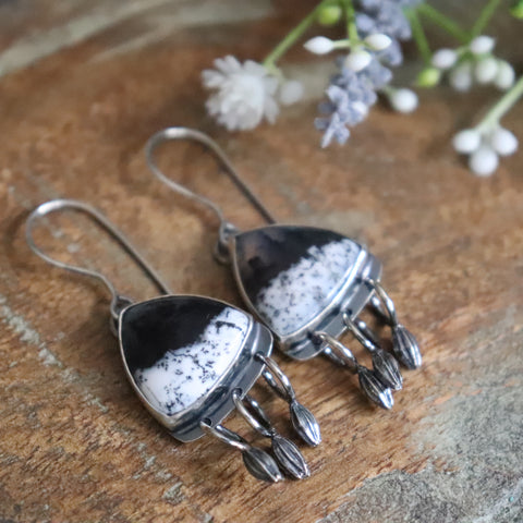 Dendritic Opal Earrings 2 - Winter's Night Collection