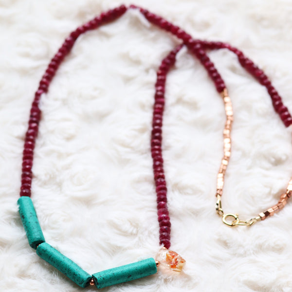 Ruby beaded necklace