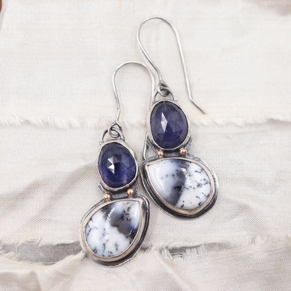 Dendritic Opal and Iolite earrings - Winter's Night Collection