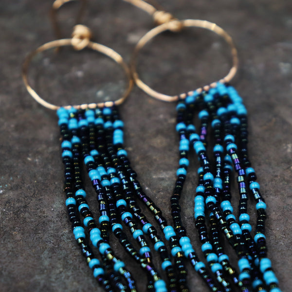 Iridescent Blue Fringe Earrings