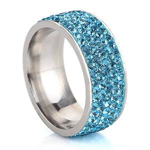 5 Row Lines Clear Crystal Wedding Ring