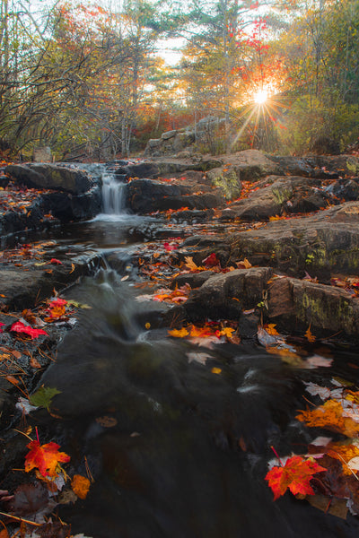 Sunset behind Duck Brook Falls in Acadia National Park, Maine