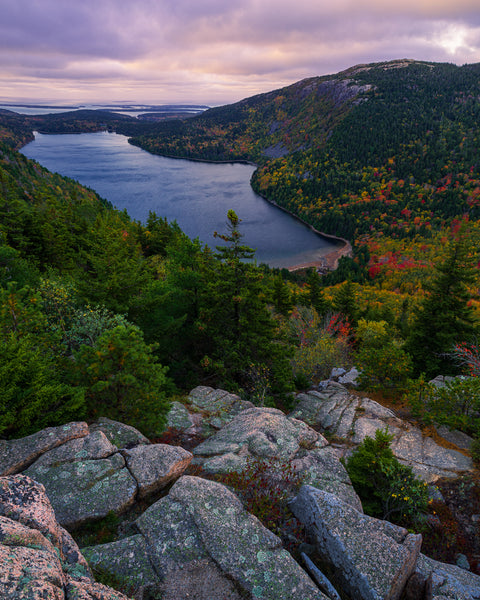 Sunrise over Jordan Pond from North Bubble in Acadia National Park, Maine