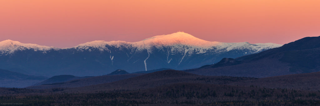 Early snow and sunset alpenglow on Mount Washington and the Presidential Range