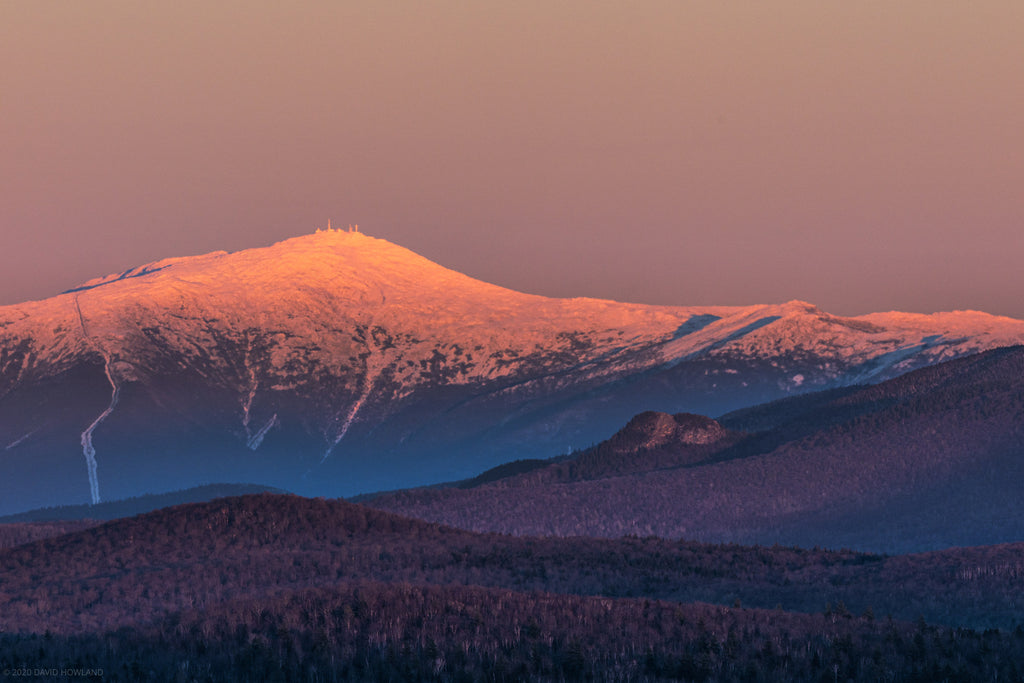 Sunset alpenglow on Mount Washington.