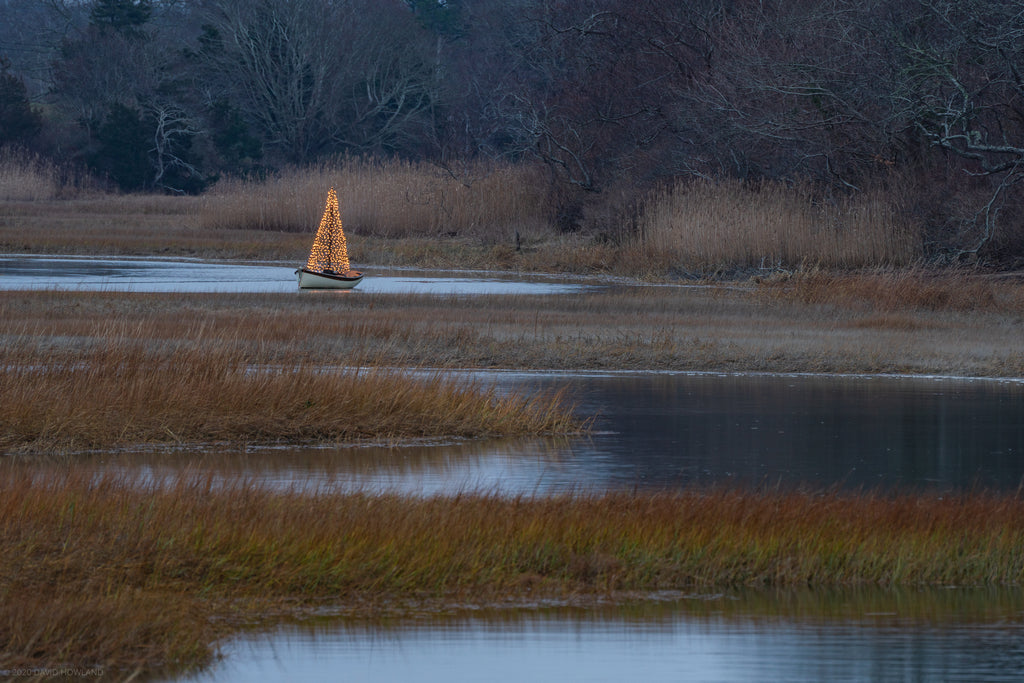 A boat decorated with a lit Christmas tree floats in a salt marsh on Cape Cod.