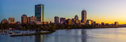 Boston Back Bay Blue and Gold Sunset Panorama