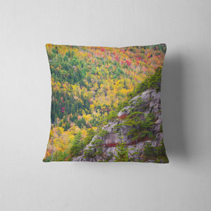 Acadia Cliffs and Trees Throw Pillow