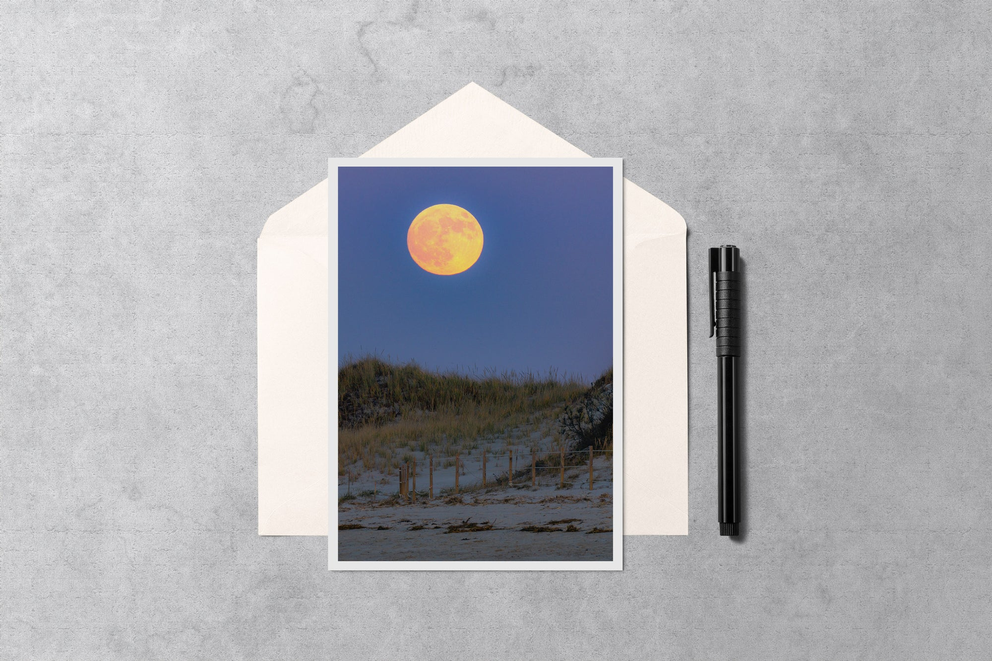 Moonrise on Chapin Beach Cape Cod Notecard