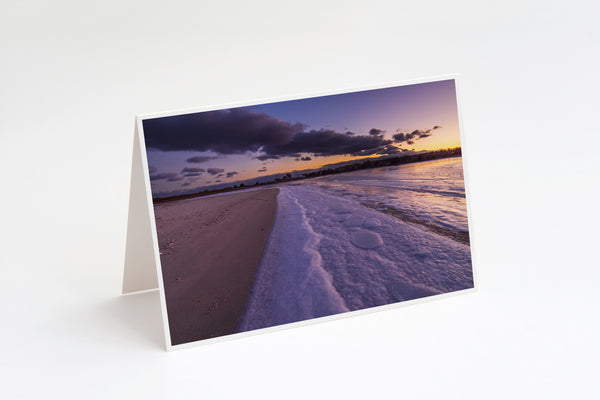 Frozen Cape Cod Sunset at Dowses Beach Greeting Card