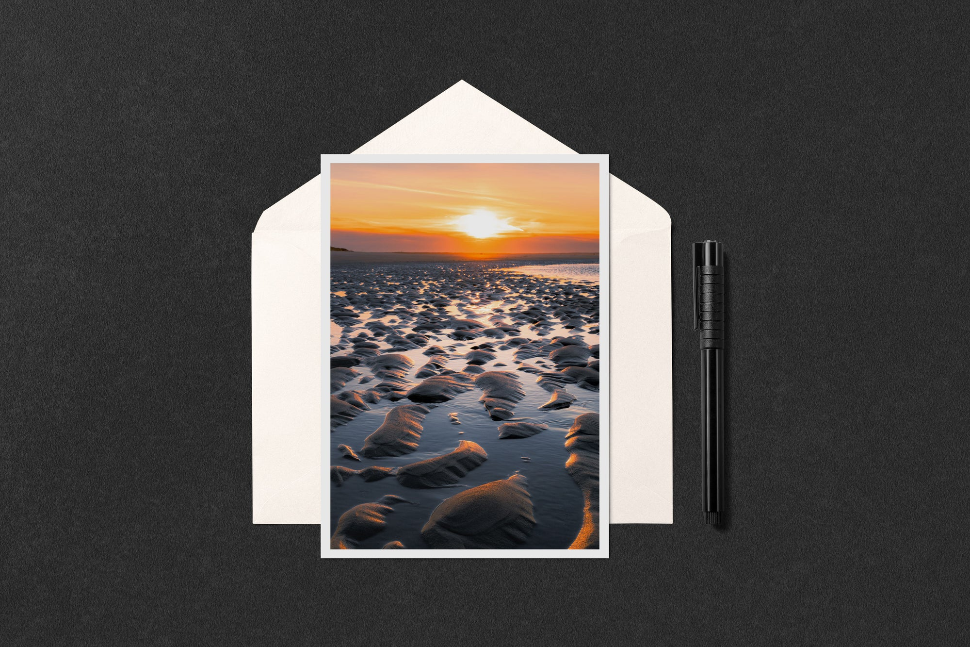 Sunset Low Tide Ripples Notecard