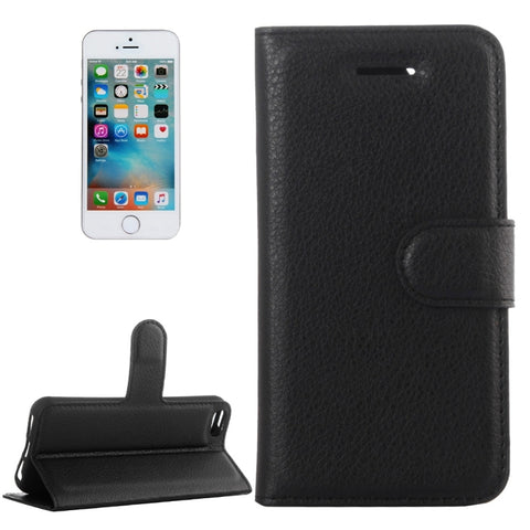 For iPhone 5 & 5s & SE Litchi Texture Horizontal Flip Leather Case with Holder & Card Slots & Wallet