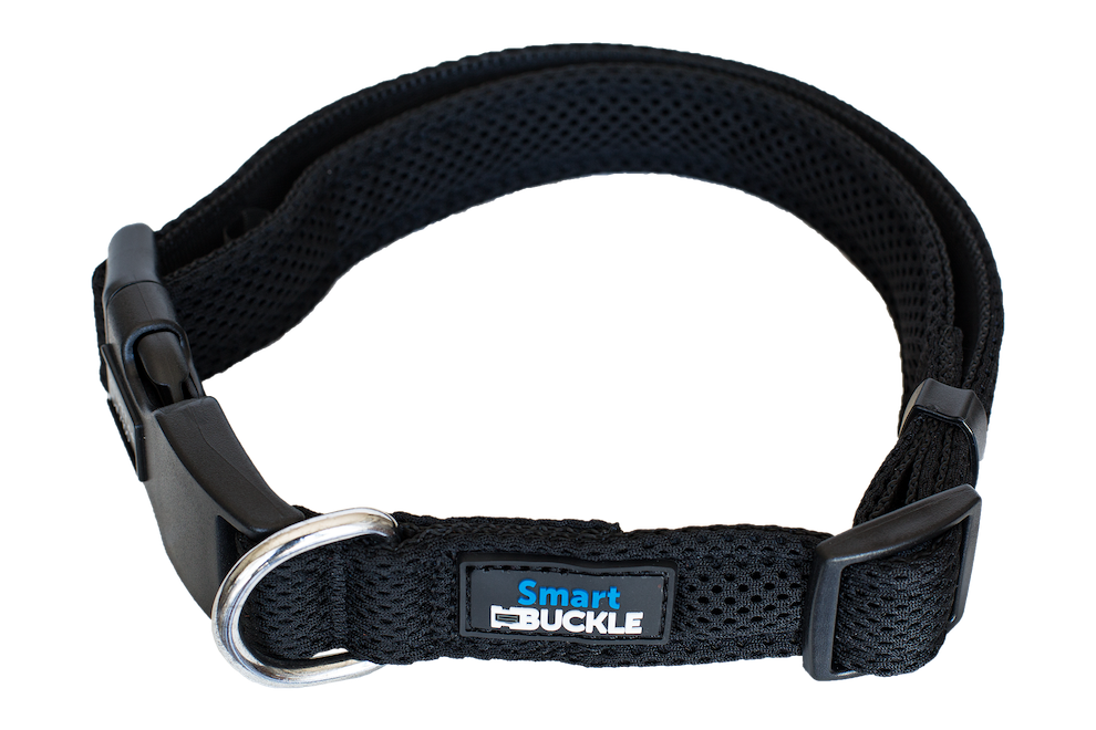 Black Air Mesh dog collar to help your dog if it becomes lost. Includes built in ID plaque and free online recovery profile to return your pet faster and safer. Step counter and free app included, no battery charging required.