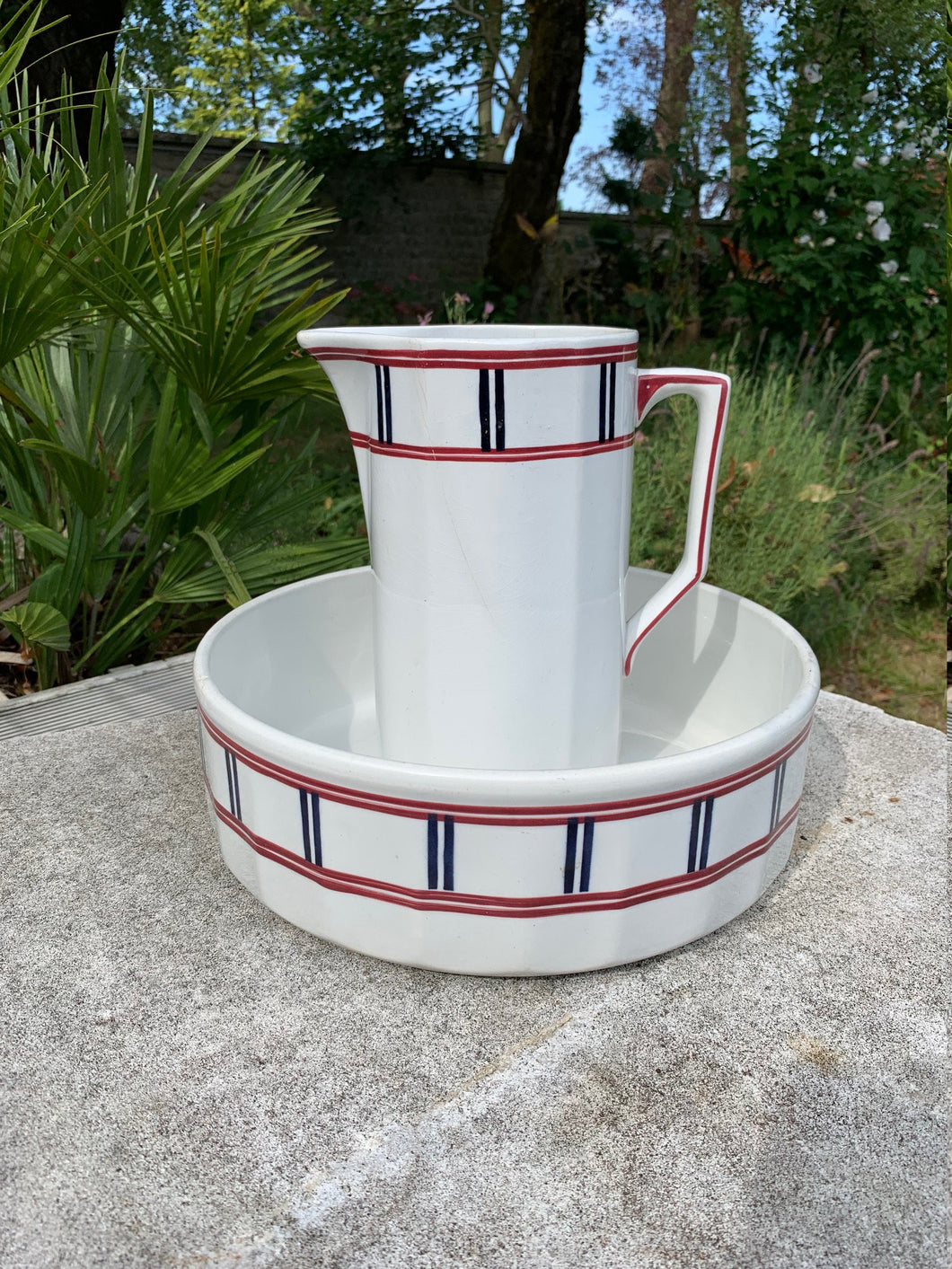 French Antique Ironstone Basin and Pitcher