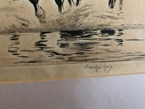 Antique Signed Etching by George Soper