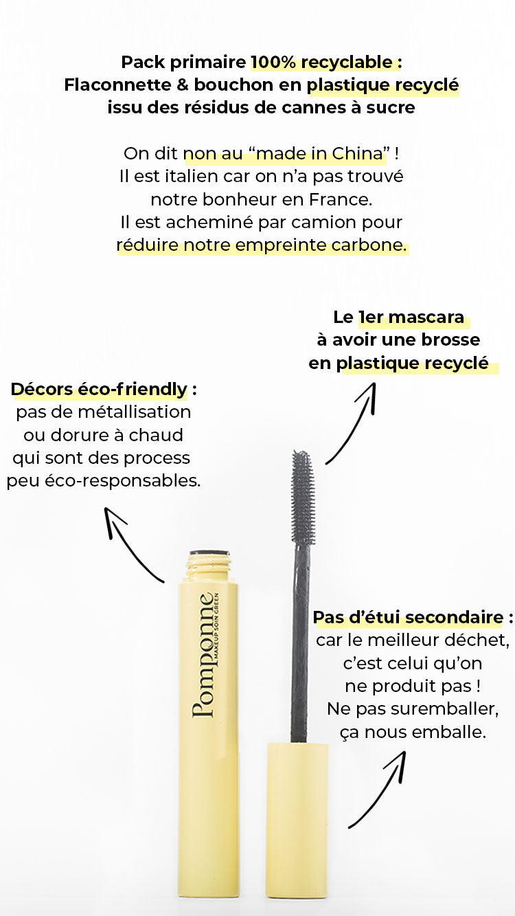 explications du pack éco-responsable du mascara naturel booster de cils Pomponne