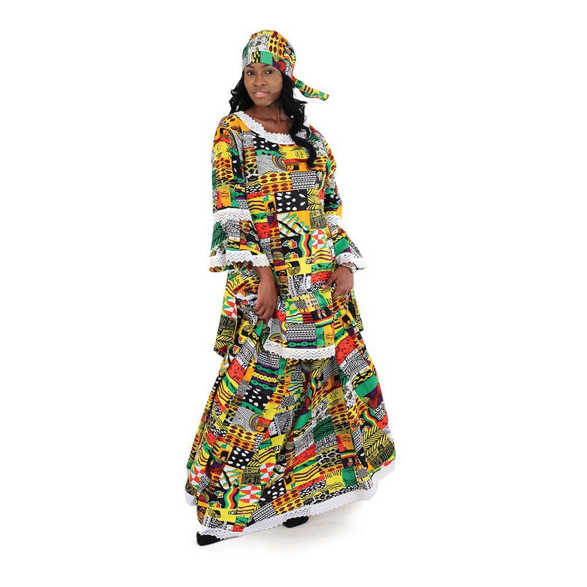 Patchwork Print Skirt Set Womens Skirts