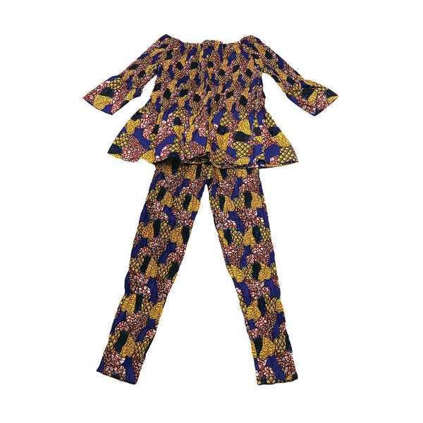 Brn/yel/blu African Print Leggings Set Pant Suits