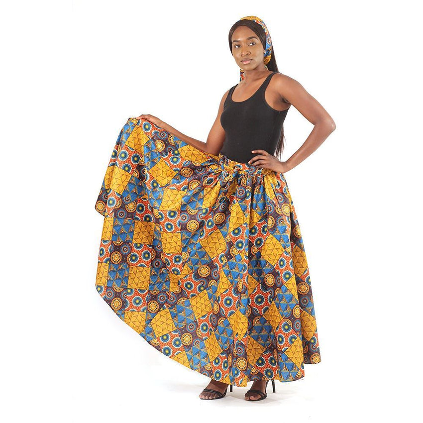 Floral Patchwork Long Skirt Womens Skirts