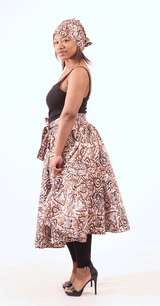 Brown Adinkra Print Skirt Womens Skirts