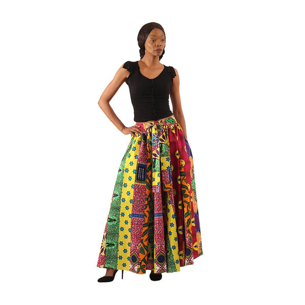 African Print Multi-Strip Maxi Skirt Womens Skirts