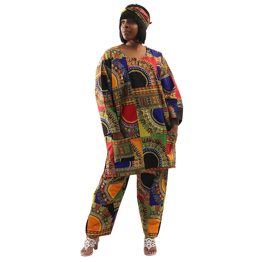 Traditional Patchwork Print Pant Set African Pant Suits