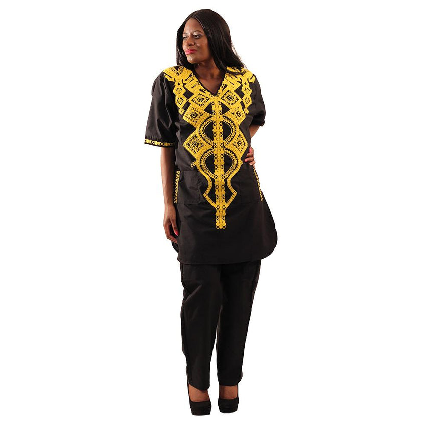 Embroidered Black Pant Set African Pant Suits