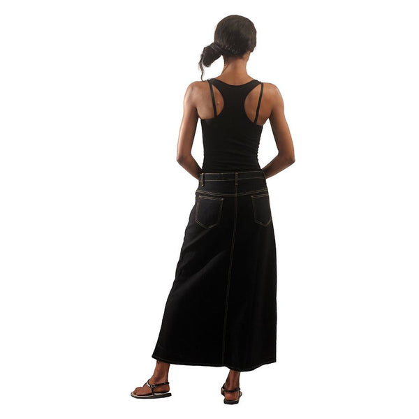 Black Denim Long Skirt Womens Skirts