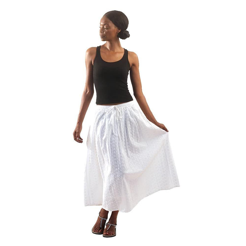 White Eyelet Long Skirt Womens Skirts