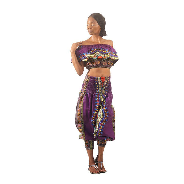 Traditional Print Halter Top & Pants African Pant Suits