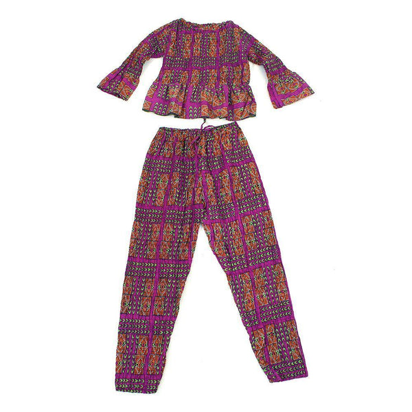 Purple Afrocentric Pant Set African Pant Suits
