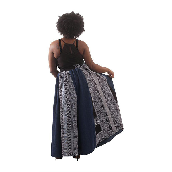 Denim & Black Trad Print Long Skirt Womens Skirts
