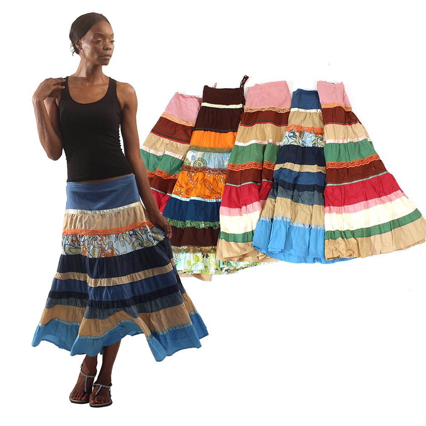 Set Of 6 Patchwork Skirts - Assorted