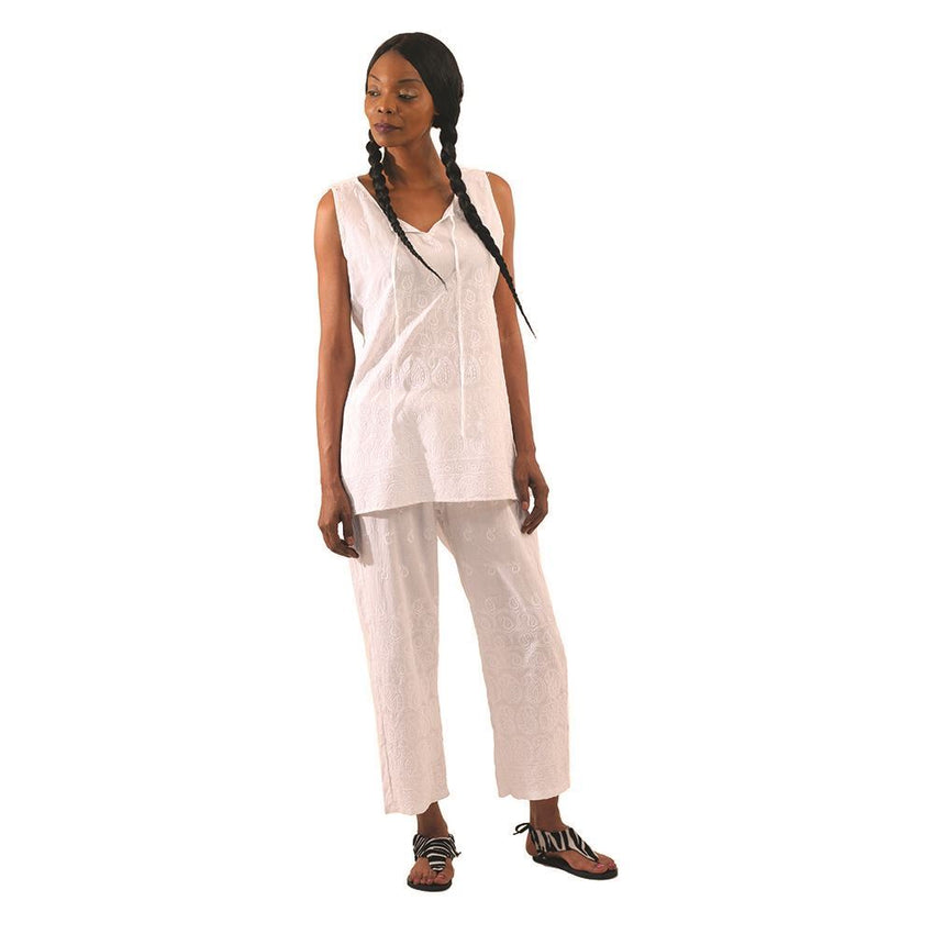 Shimmering White Embroidered Pant Set African Pant Suits