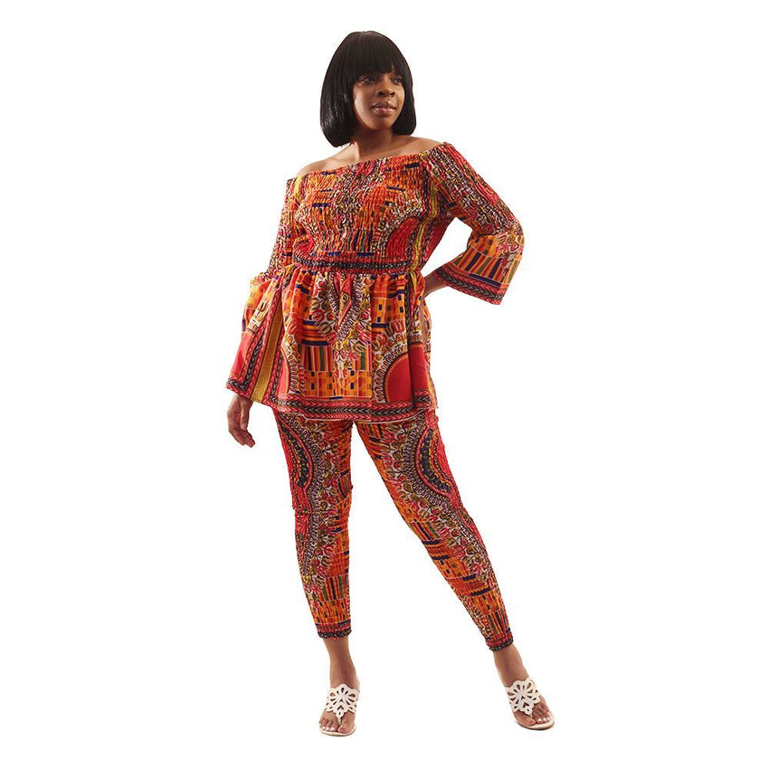 Mixed Kente & Trad Print Pant Set Md African Pant Suits