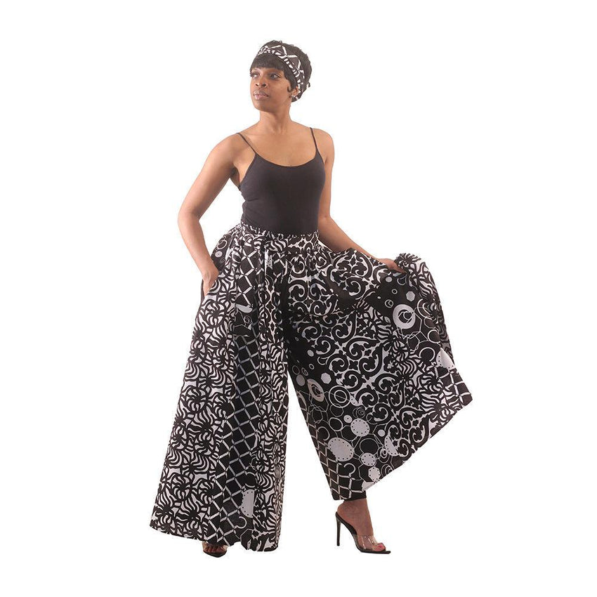 Black & White Palazzo Pants African Pant Suits