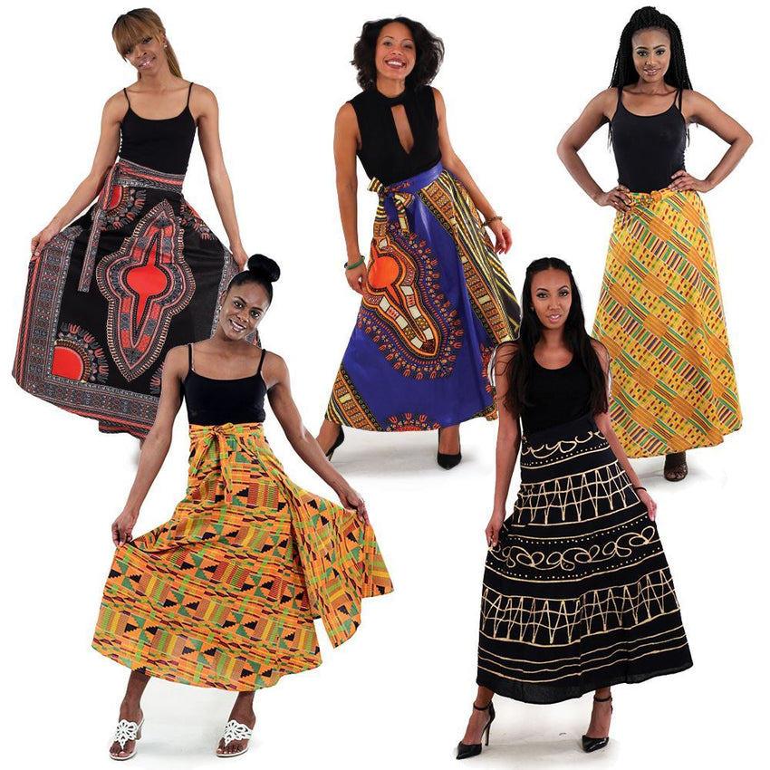 Set Of 5 African Print Wrap Skirts Womens