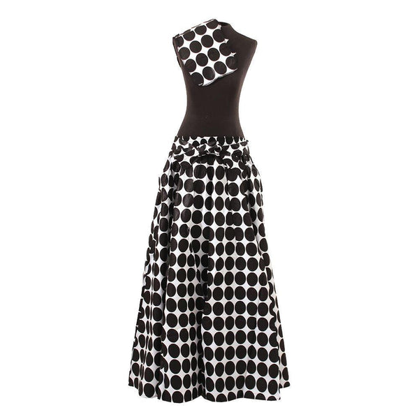 White & Black - Polka Dot Maxi Skirt Womens Skirts