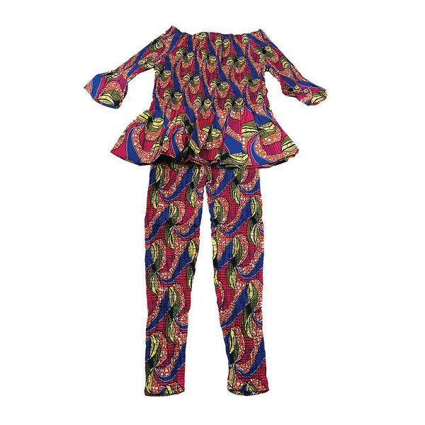 Pnk/blu/brn African Print Leggings Set Lg Pant Suits