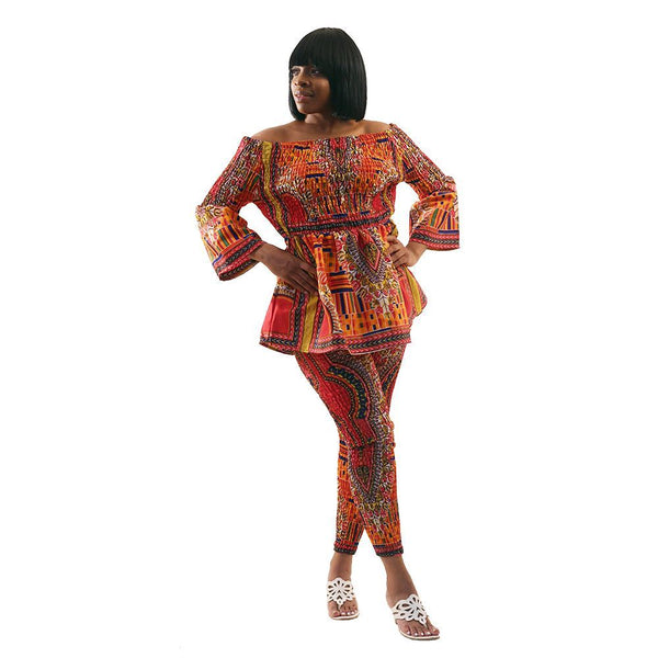 Mixed Kente & Trad Print Pant Set Lg African Pant Suits