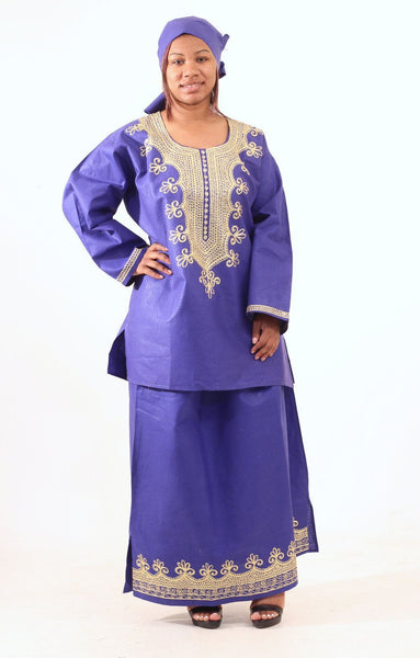 Embroidered Skirt Set Royal Blue Womens Skirts
