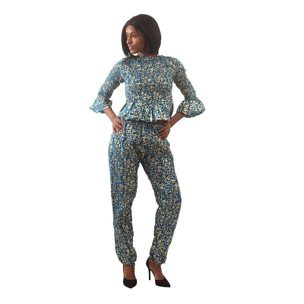 Golden Flower Pant Set Trquis African Pant Suits